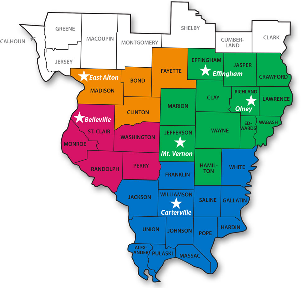 Caritas Map of IL Counties